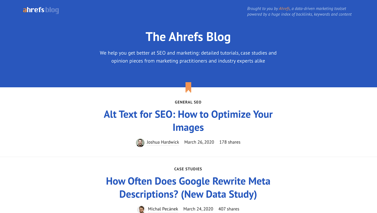 The Ahrefs Blog Homepage (for Posts) and Example - Screenshot