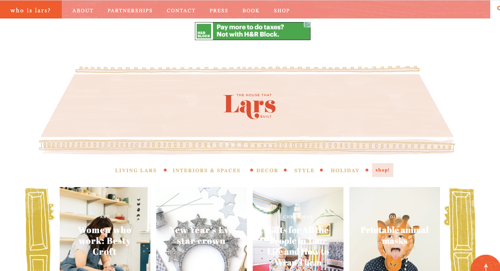 The House That Lars Built Homepage Screenshot (Blog Layout Examples)