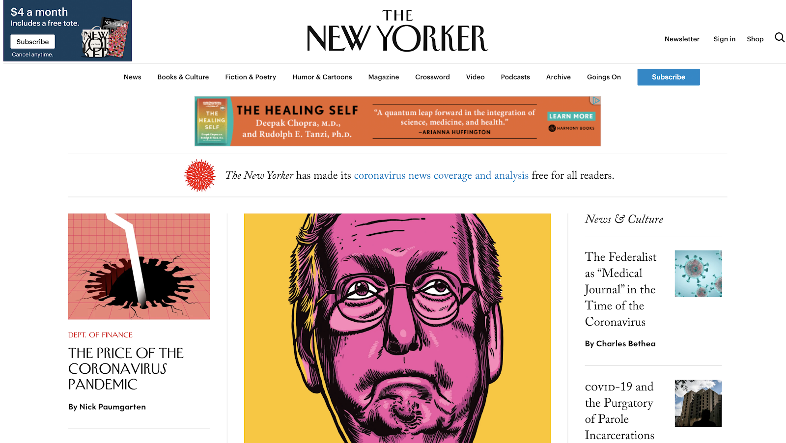 The New Yorker Homepage Screenshot (Blog Layout Examples)