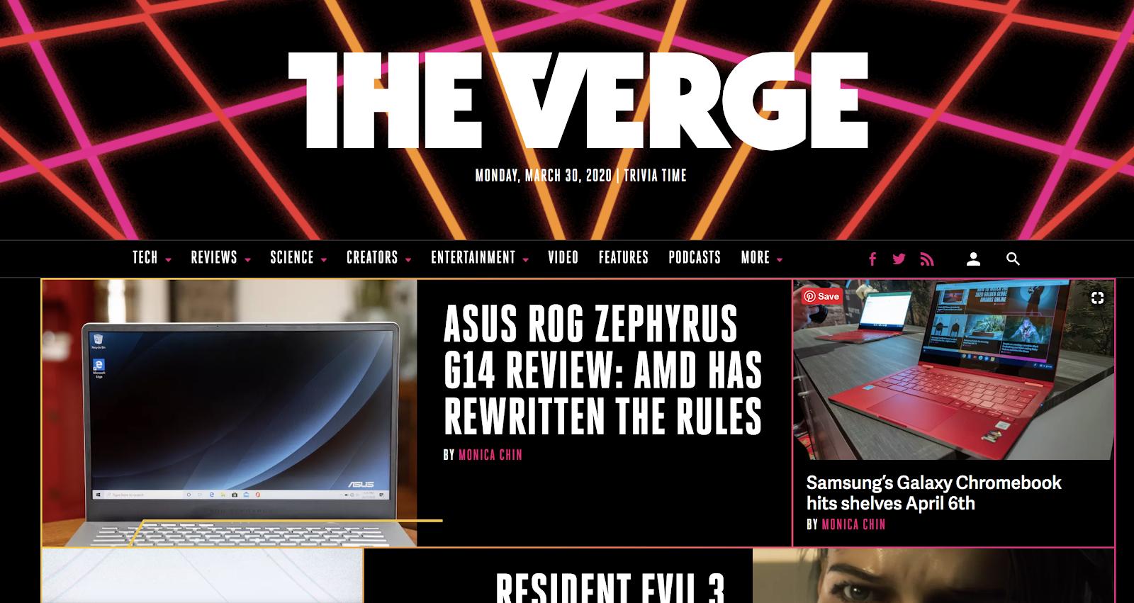 The Verge Homepage Screenshot (Blog Layout Examples)