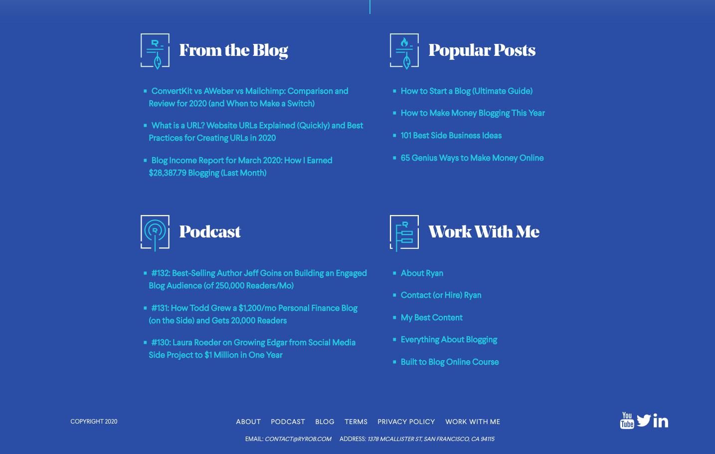 Blog Layout and Footer Screenshot Example of ryrob