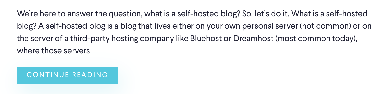 Descriptions and Calls to Action in Your Blog Design (Screenshot)