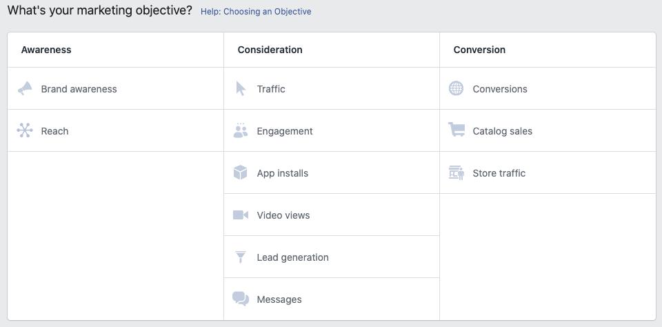 objetivos en anuncios de facebook