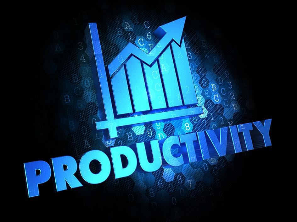 Productividad con tabla de crecimiento: texto en color azul sobre fondo oscuro digital.-1