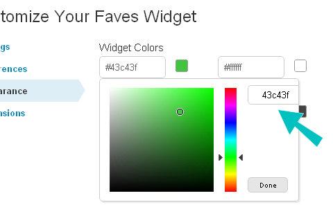 renk seçici görünüm widget'ı