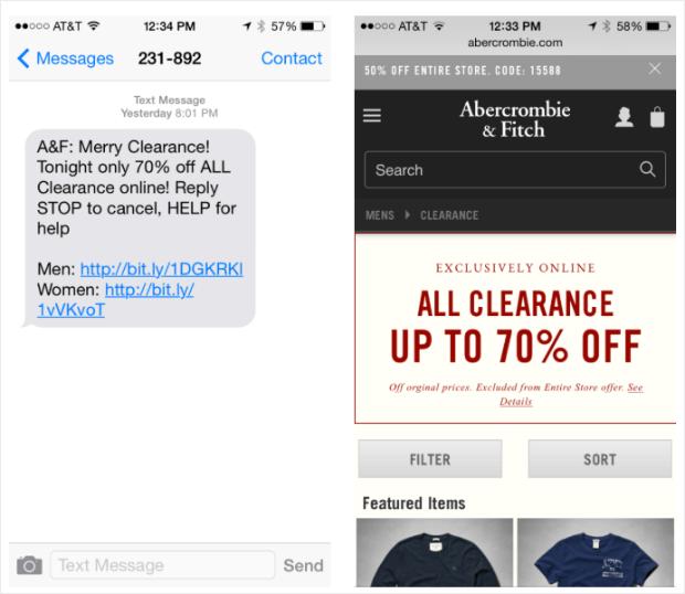 texto de promoción de ventas de abercrombie & fitch