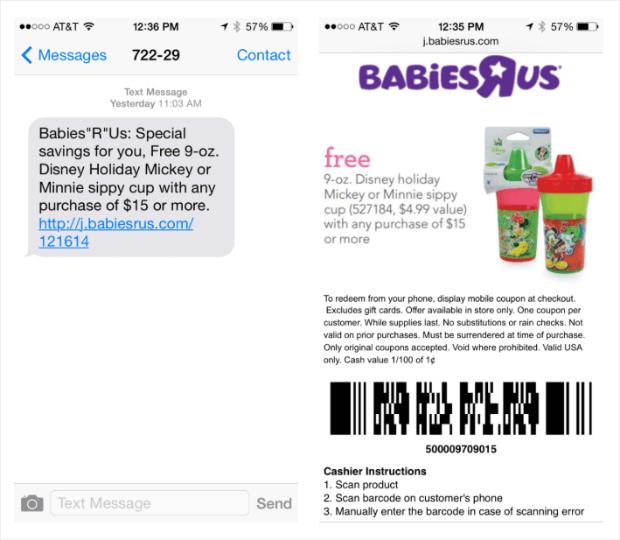 cupones de texto de bebés r us