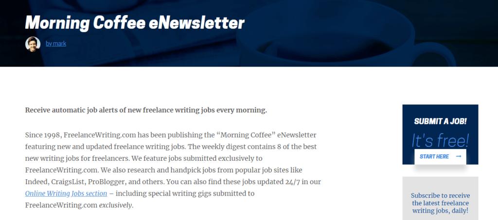 Los mejores sitios web de trabajo independientes Newsletter de Coffee Morning