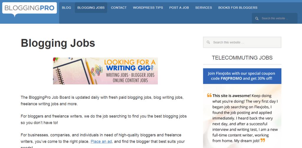 Los mejores sitios web de trabajo independientes Blogging Pro