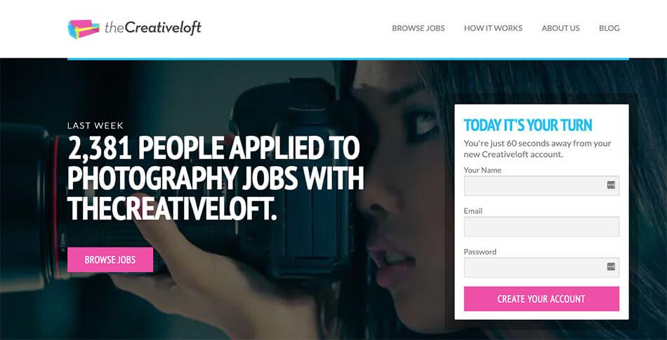 The Creative Loft for Photography Freelance Jobs (Captura de pantalla)