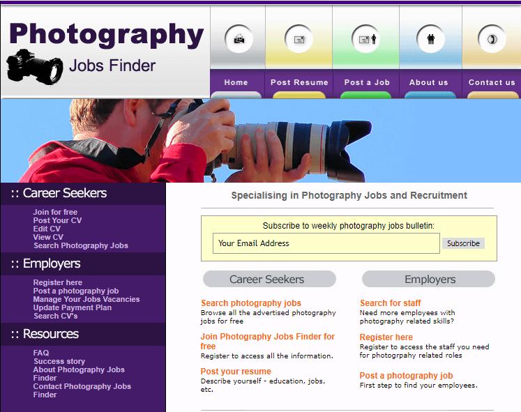 Los mejores sitios web de trabajos independientes Buscador de trabajos de fotografía