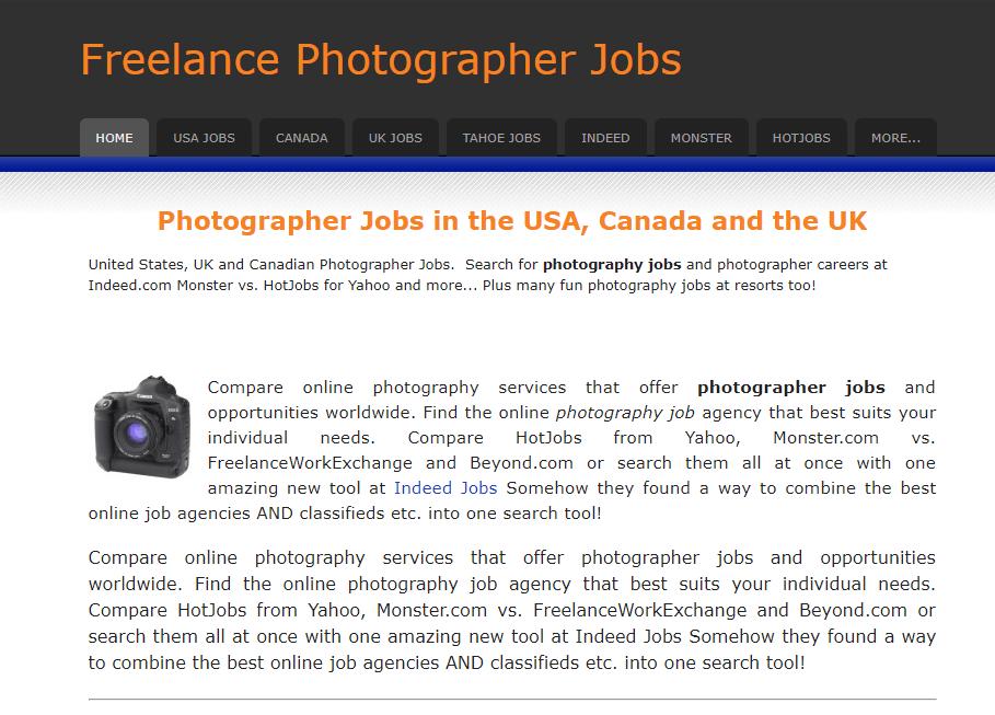 Los mejores sitios web de trabajos independientes Trabajos de fotógrafos independientes