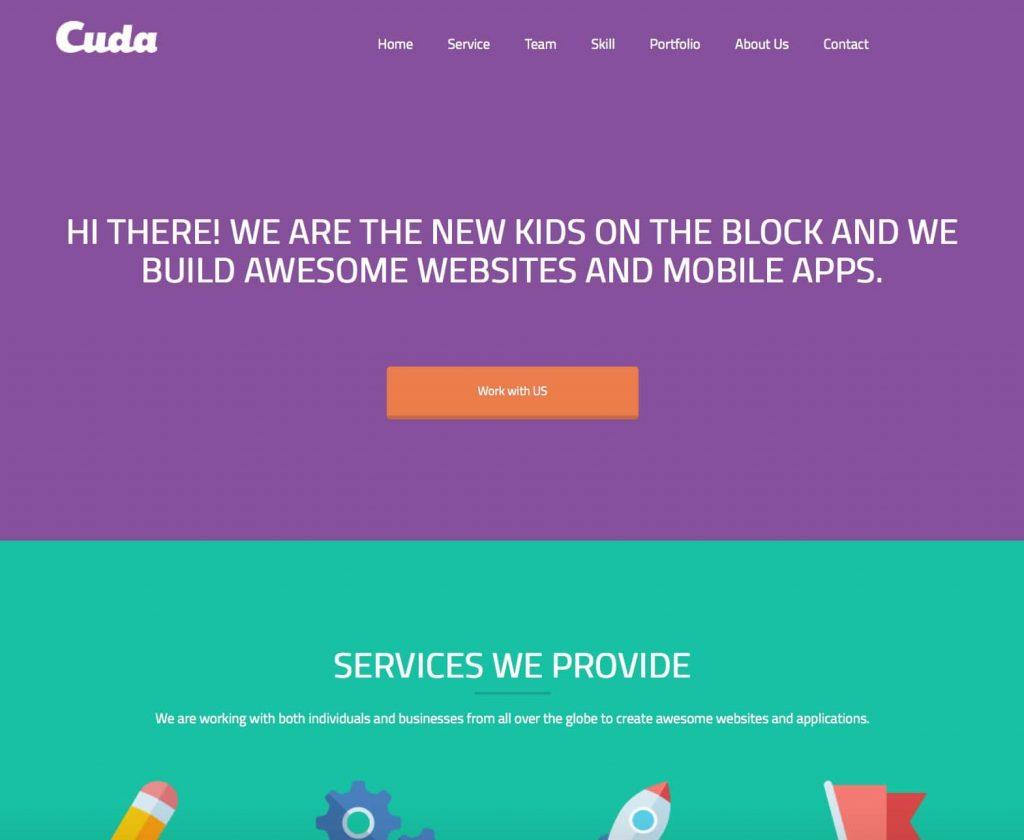 cuda - colección gratuita de temas de wordpress de una página