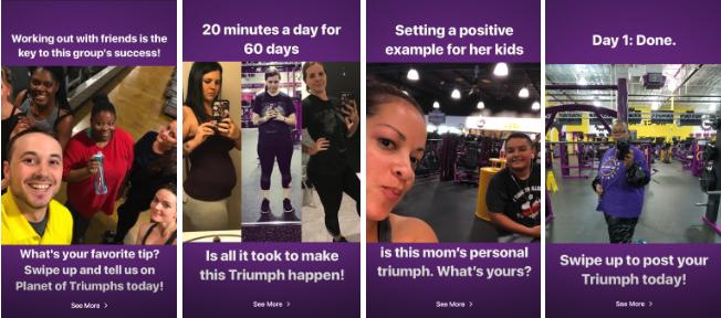 historia de instagram de planet fitness