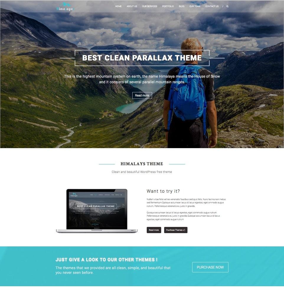 """himalayas-free-responsive-one-page-theme """"width ="""" 962 """"height ="""" 976 """"srcset ="""" https://themegrill.com/blog/wp-content/uploads/2015/08/himalayas-free-responsive -one-page-theme.jpg 962w, https://themegrill.com/blog/wp-content/uploads/2015/08/himalayas-free-responsive-one-page-theme-296x300.jpg 296w, https: / /themegrill.com/blog/wp-content/uploads/2015/08/himalayas-free-responsive-one-page-theme-768x779.jpg 768w """"tamaños ="""" (ancho máximo: 962px) 100vw, 962px """"> Himalaya es un tema de WordPress que responde al paralaje de una página de estilo moderno y sólido como una roca. Informe a sus visitantes todo lo que necesitan saber directamente desde su página de inicio sin tener que ir a las otras páginas. Himalaya se puede utilizar para negocios, cartera, empresas, agencias, fotografía, freelancers y casi cualquier tipo de sitios.</p> <p style="""