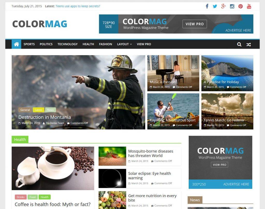 revista gratuita tema de wordpress 2015 ColorMag Full