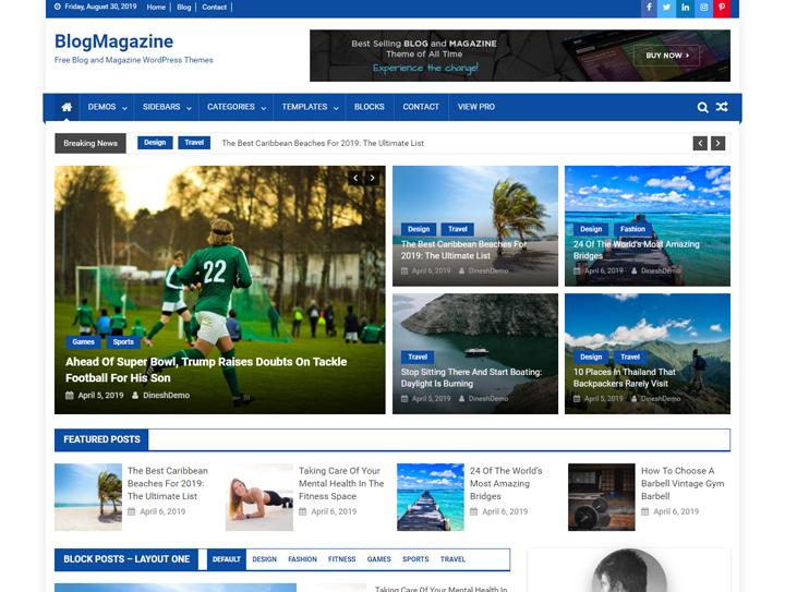 blogmagazine gratis revista responsiva tema de wordpress