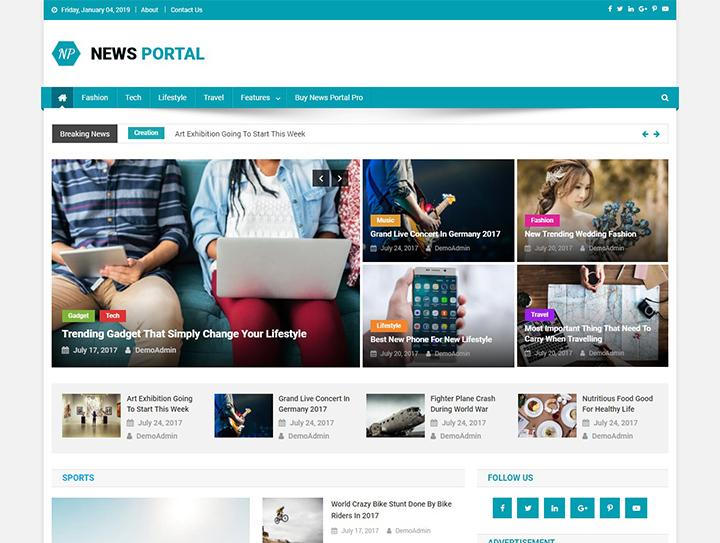 "news-portal-free-wordpress-magazine-theme ""width ="" 720 ""height ="" 543 ""srcset ="" https://themegrill.com/blog/wp-content/uploads/2015/07/news-portal-free -wordpress-magazine-theme.jpg 720w, https://themegrill.com/blog/wp-content/uploads/2015/07/news-portal-free-wordpress-magazine-theme-300x226.jpg 300w ""tamaños ="" (ancho máximo: 720px) 100vw, 720px ""></p> </div> </div> <div class="