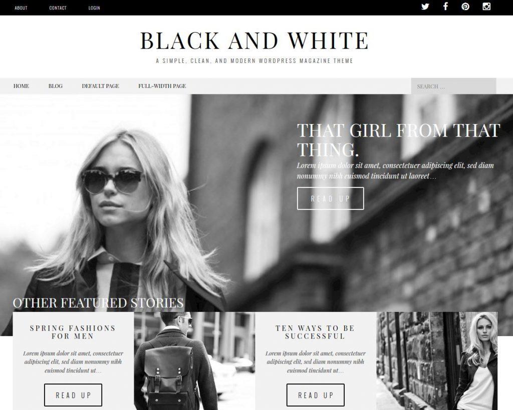 revista gratis tema de wordpress en blanco y negro