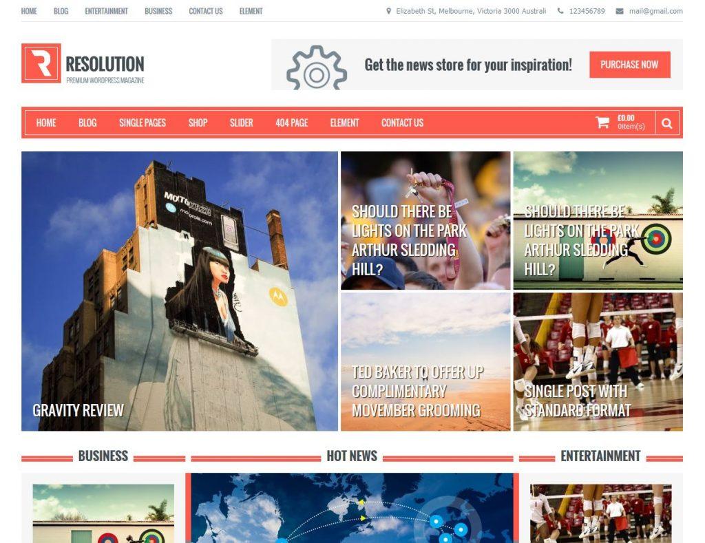 free magazine wordpress theme resolution