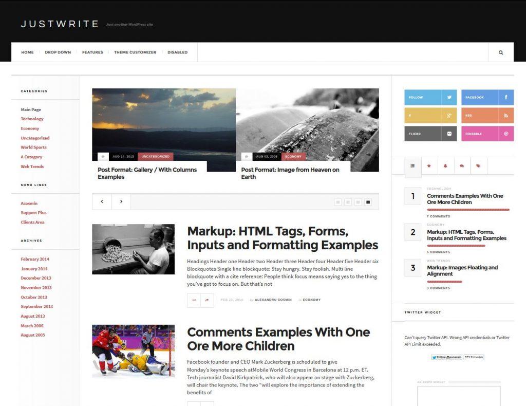 revista gratuita tema de wordpress justwrite
