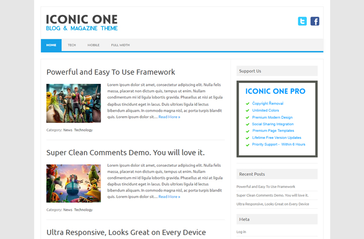 iconic one free responsive magazine wordpress theme