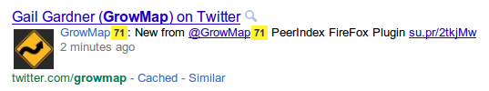 Números de PeerIndex que aparecen en la Búsqueda de Google