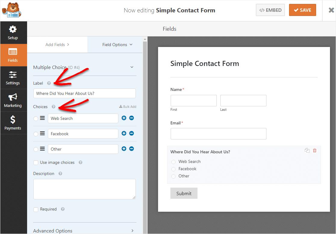 cambiar etiqueta en campo de opción múltiple para formulario de lógica condicional