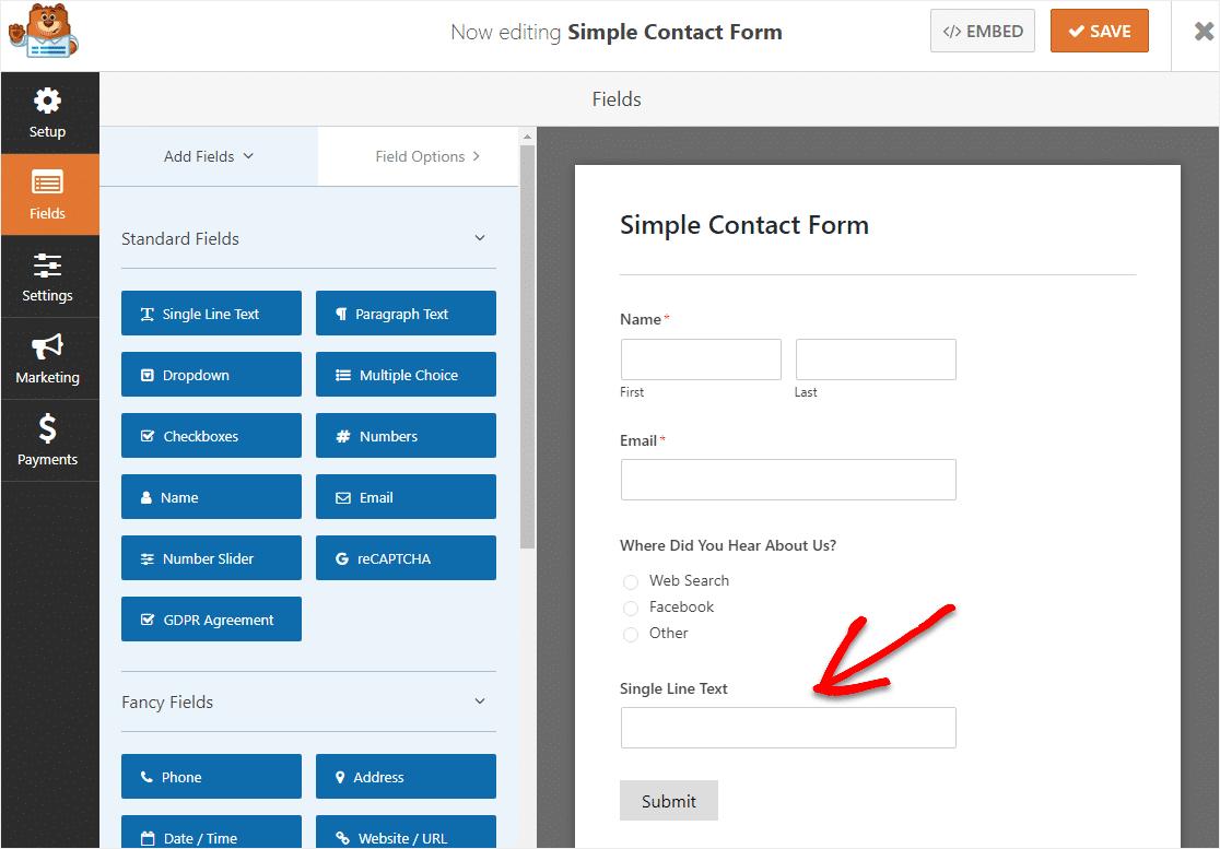 agregue un campo de texto de una sola línea para crear un formulario lógico condicional