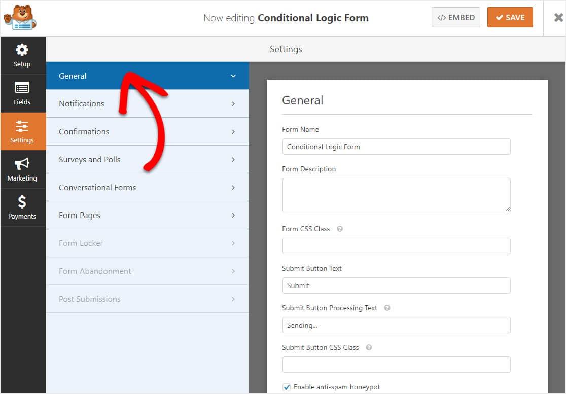 configuración de formulario de lógica condicional