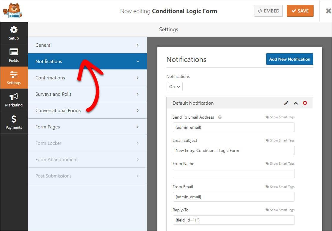 configuración de notificación de formulario de lógica condicional
