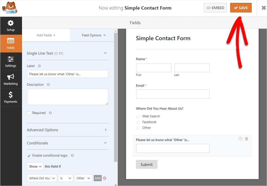 formulario con lógica condicional habilitada