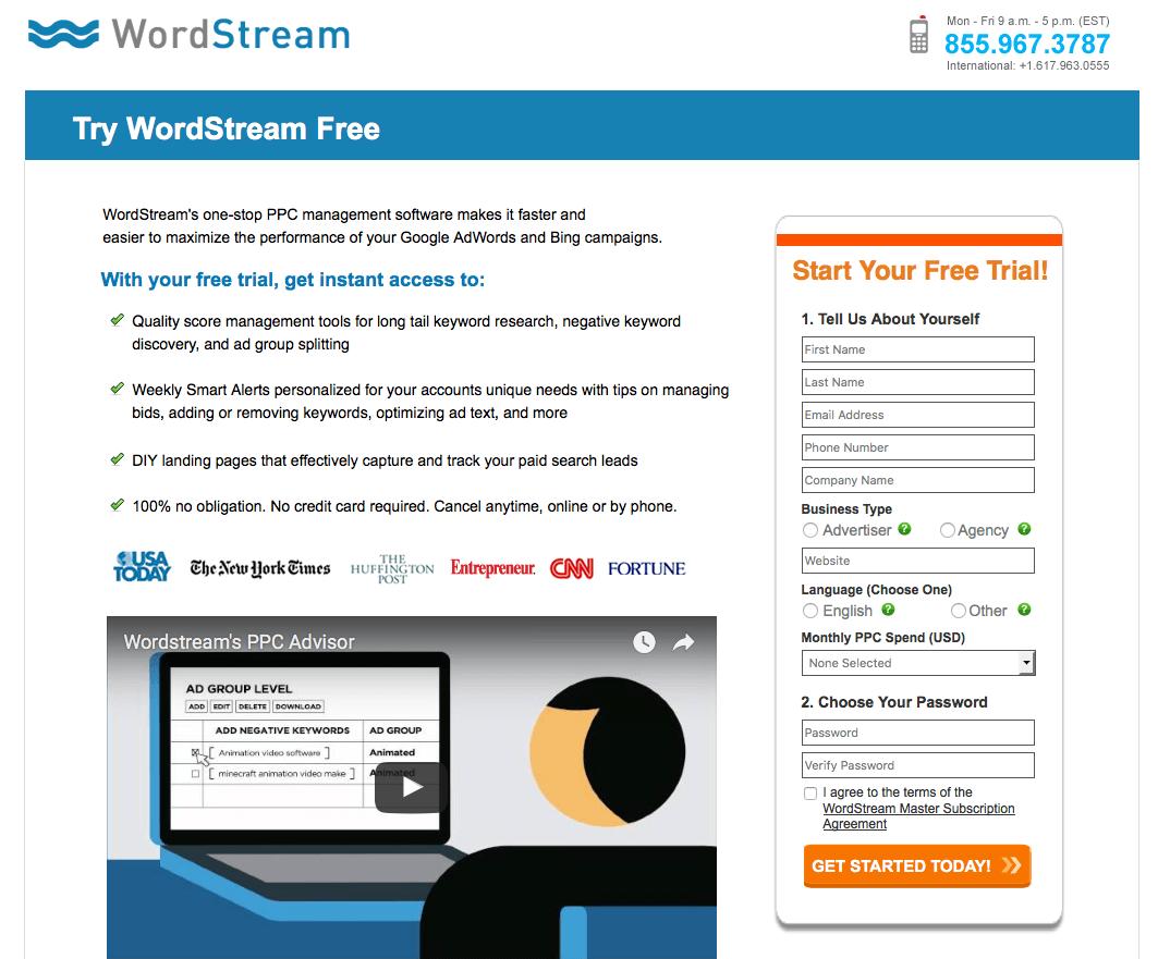 Video de la página de aterrizaje de Wordstream | Publicidad disruptiva