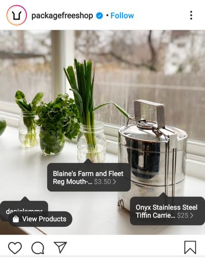Ejemplo de etiquetado de productos para su perfil de comercio electrónico de Instagram