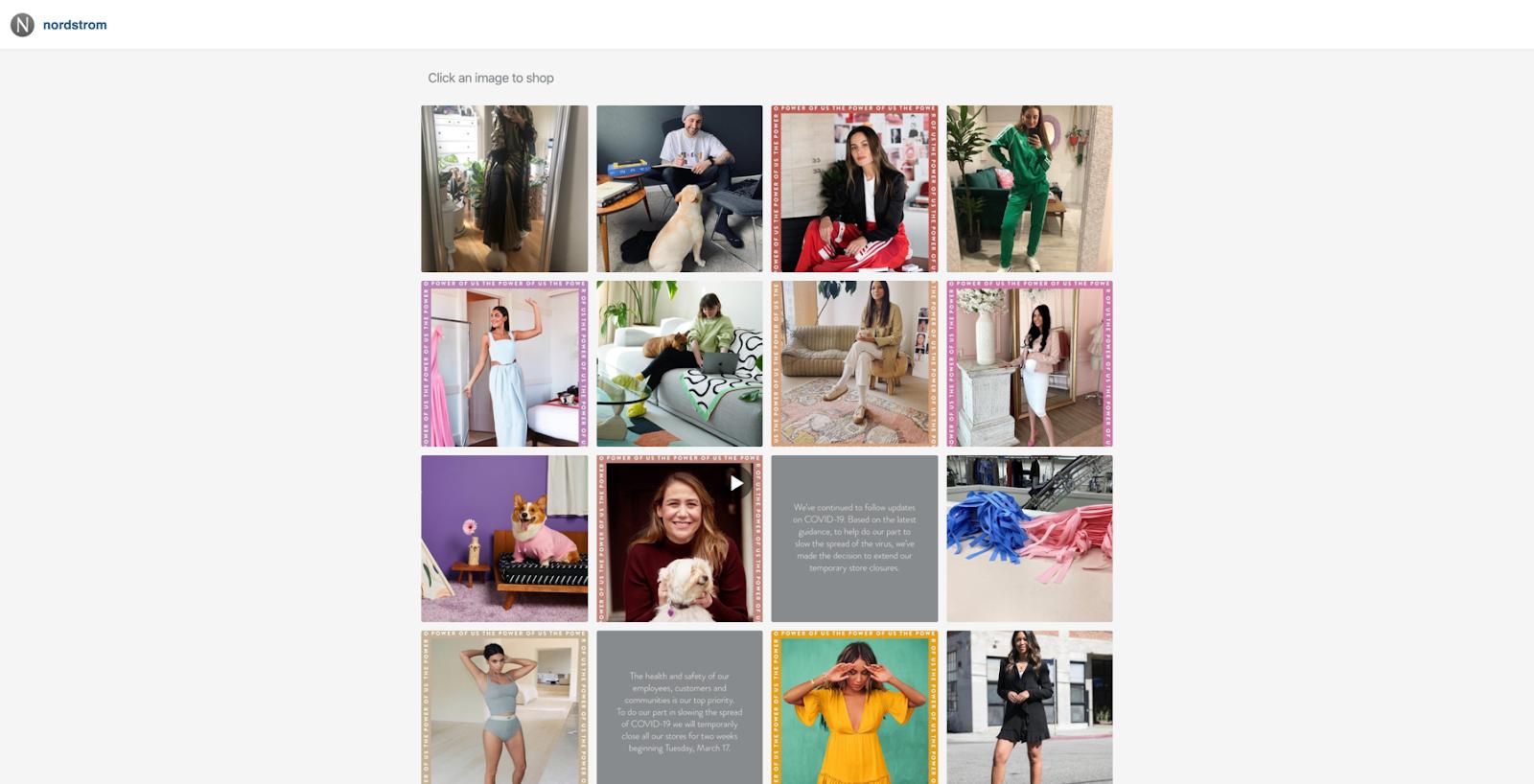 Enlace de Nordstroms en biografía que lleva a los usuarios a su tienda de comercio electrónico de Instagram
