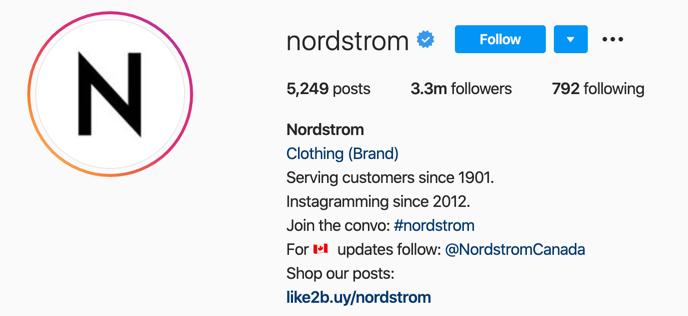 Biografía de Nordstrom en Instagram
