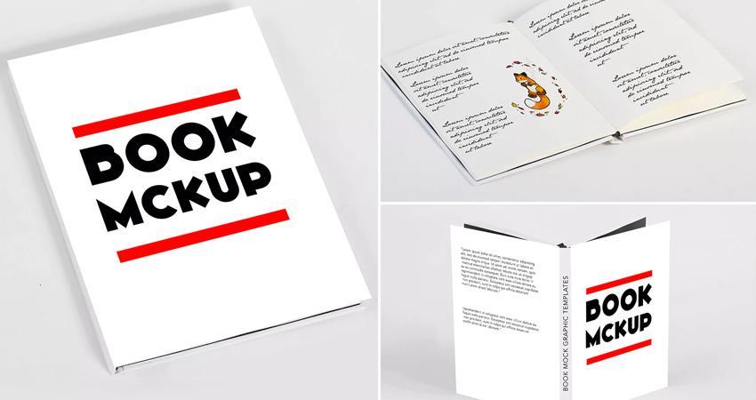 Plantillas de maquetas de libros mínimos Photoshop PSD