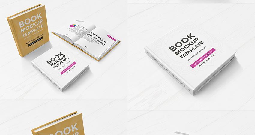 Juego de maqueta de libro de tapa dura gratuito Photoshop PSD