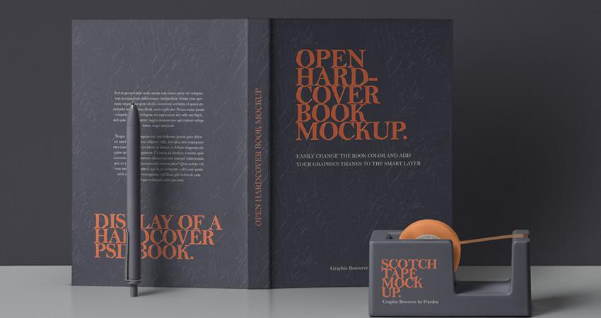 PSD gratuito Maqueta de libro de tapa dura abierta Photoshop PSD