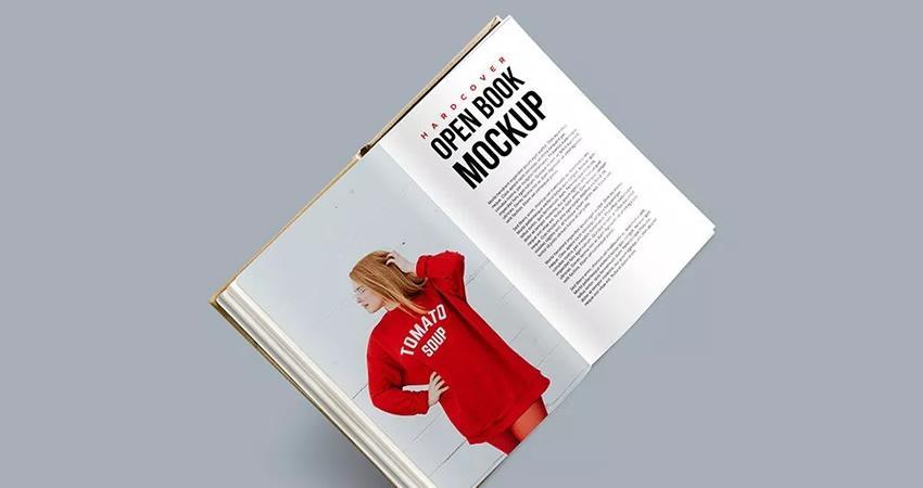 Tapa dura gratuita Libro abierto PSD Maqueta Photoshop PSD