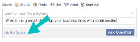 pregunta de Facebook agregar opciones de encuesta