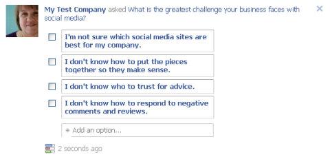pregunta de facebook publicada