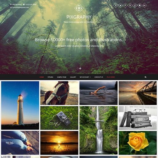 temas de fotografía de wordpress gratis de pixgraphy