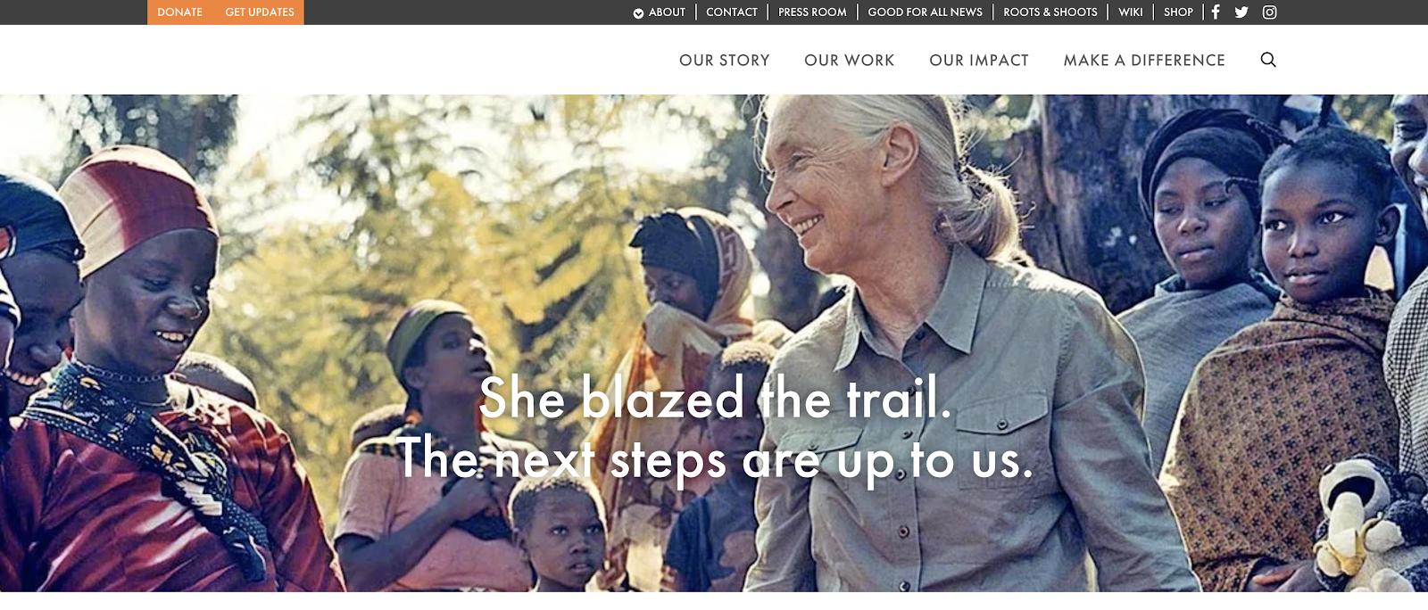 Sitio de blog gratuito autohospedado WordPress utilizado por Jane Goodall