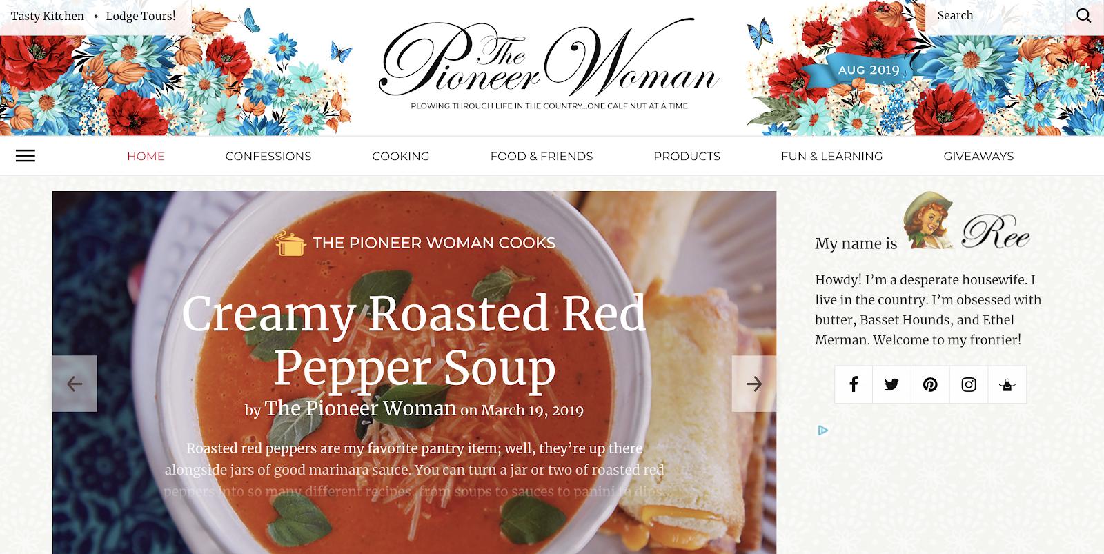 Blog Top Food Pioneer Woman Creado en WordPress