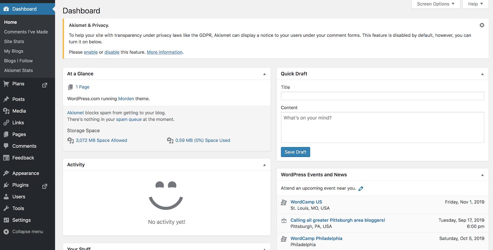 Captura de pantalla del editor de contenido gratuito de WordPress