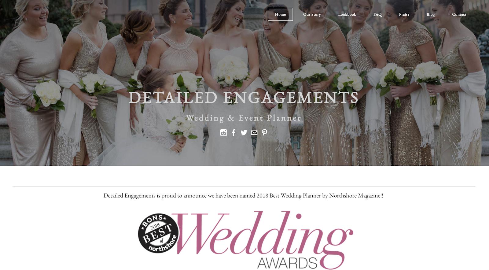Ejemplo de un sitio web de bodas construido con plataforma de blogs gratuita Weebly