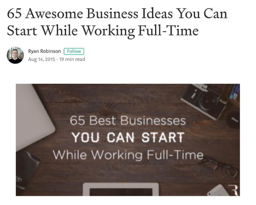Captura de pantalla de ejemplo de publicación de artículos en sitios de blogs gratuitos