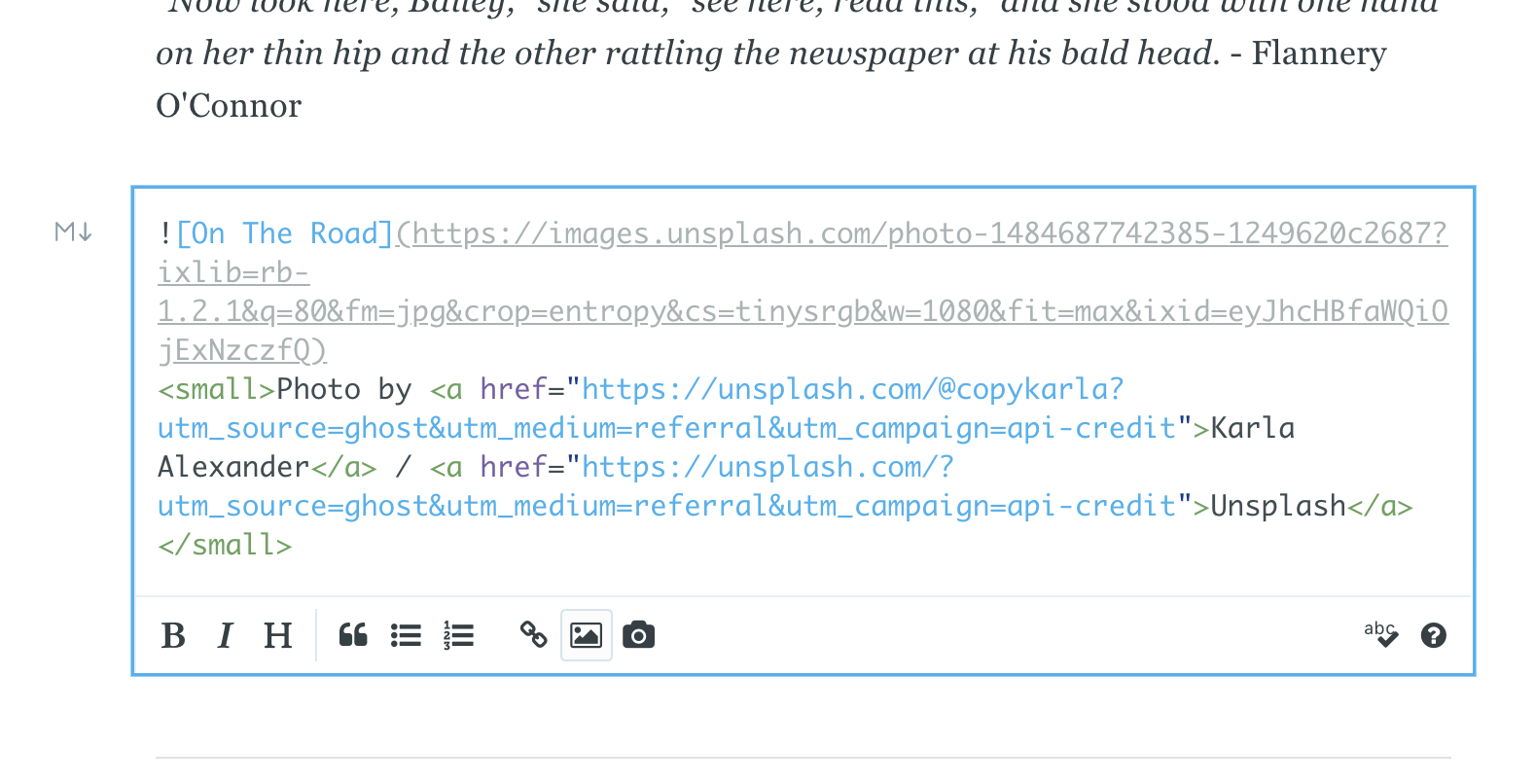 Screenshot of Ghost Content Editor as a Blogging Platform
