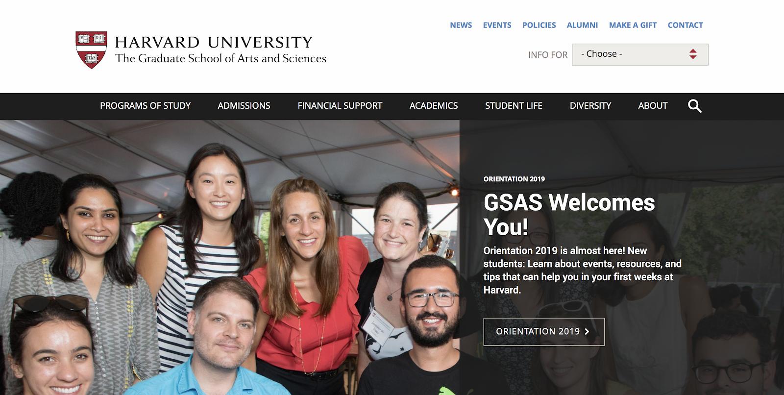 Harvard Website Built on Free Blogging Site Joomla Screenshot